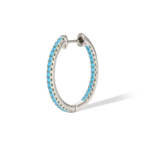 Inside-Out 18 mm turquoise sterling silver hoop