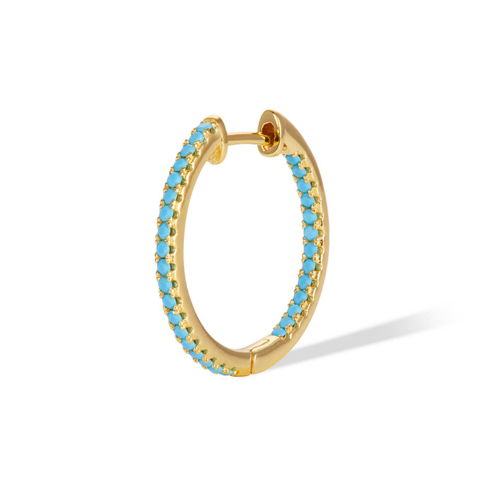 Inside-Out 18 mm turquoise gold vermeil hoop
