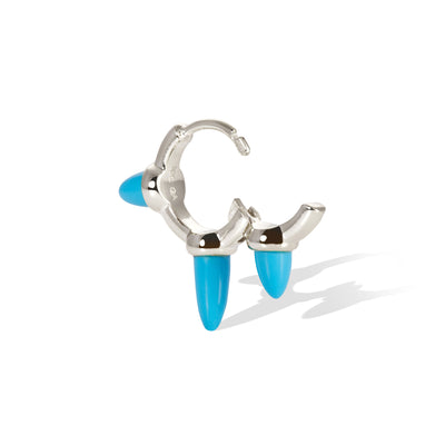 Vertex three spikes turquoise sterling silver huggie
