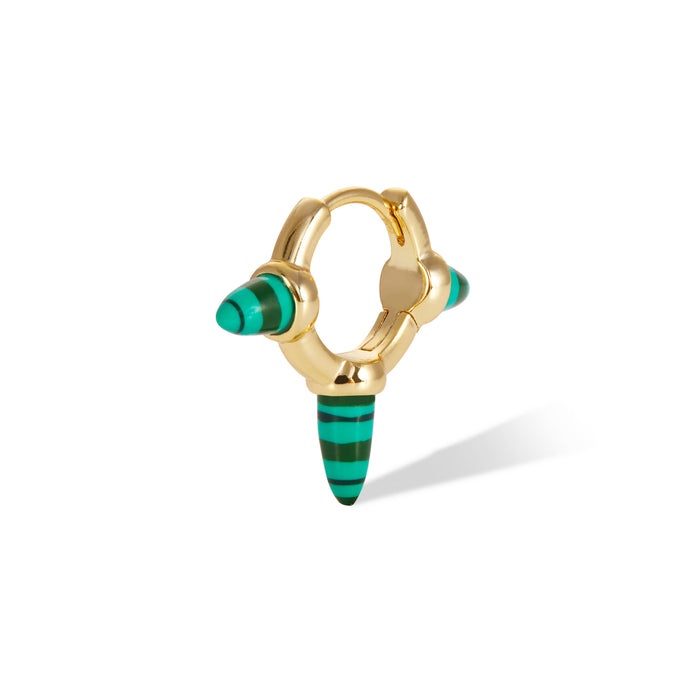Three spikes malachite gold vermeil huggie