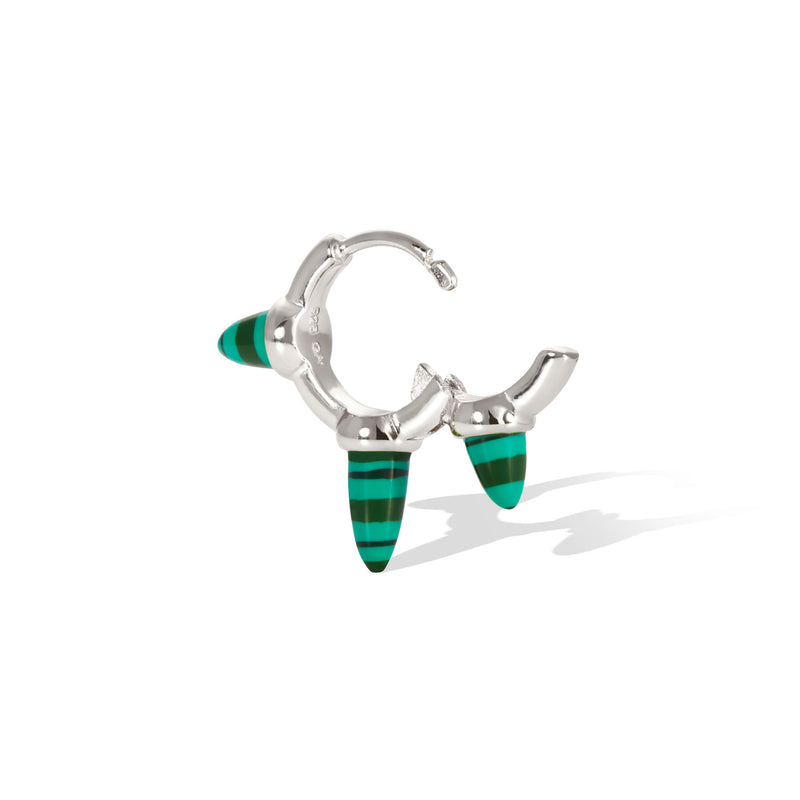 Vertex three spikes malachite sterling silver huggie