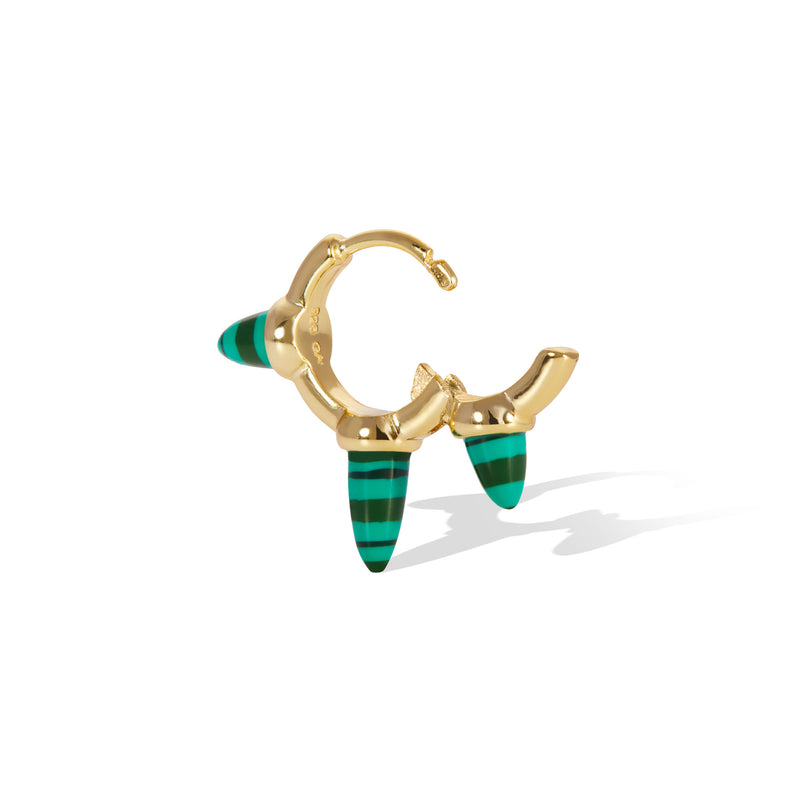 Vertex three spikes malachite gold vermeil huggie