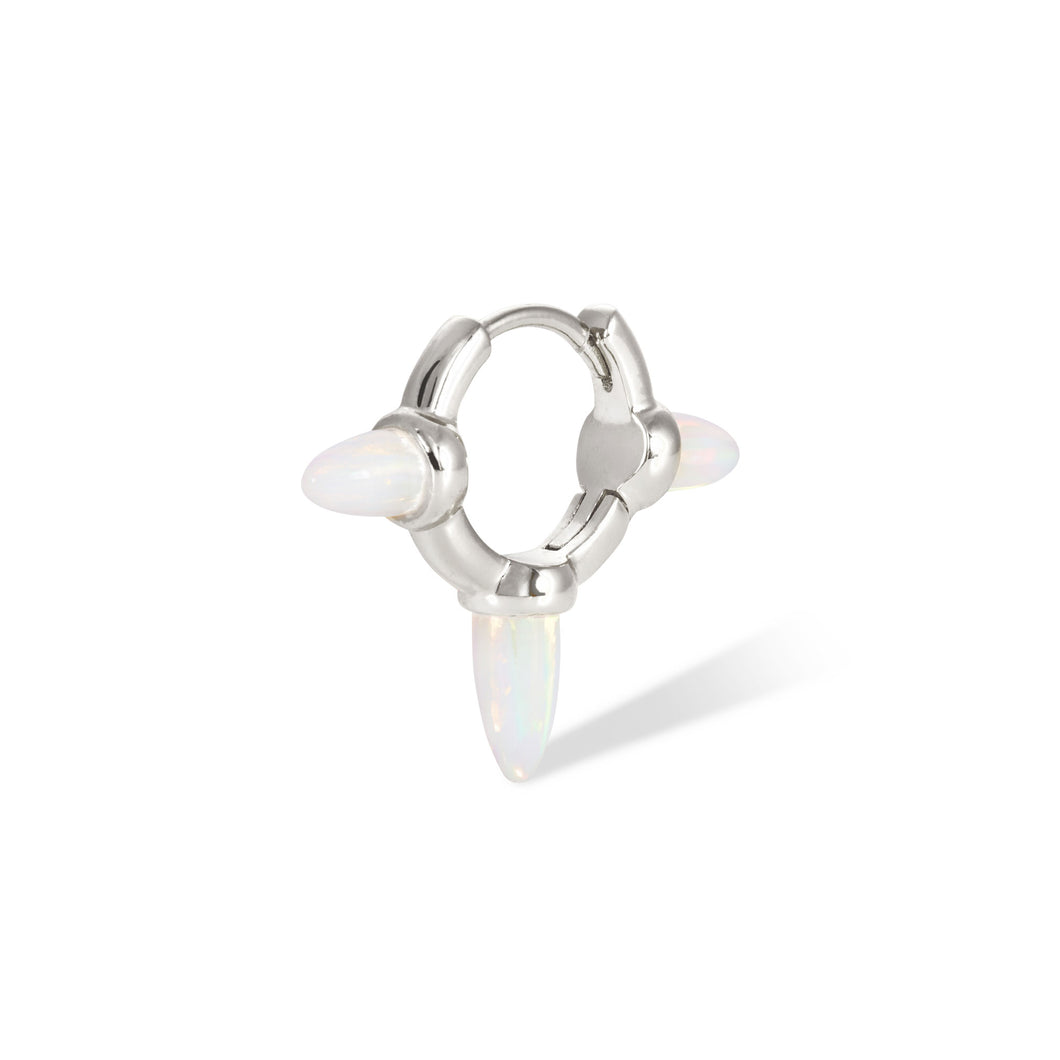 Three spikes opal sterling silver huggie