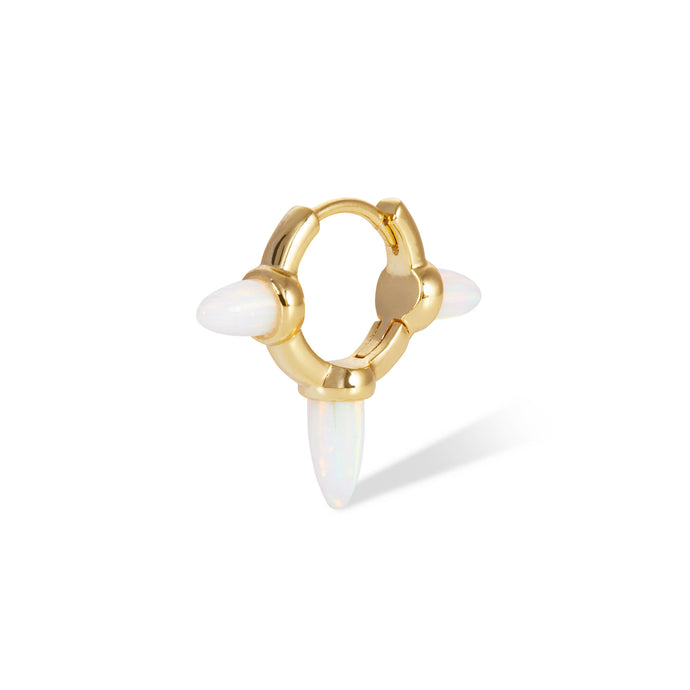 Three spikes opal gold vermeil huggie