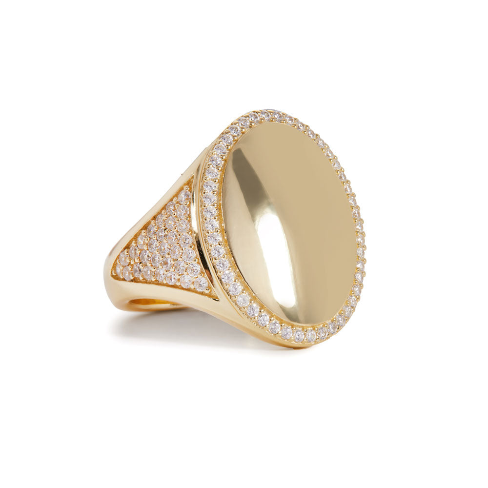 Oval shape gold vermeil signet ring