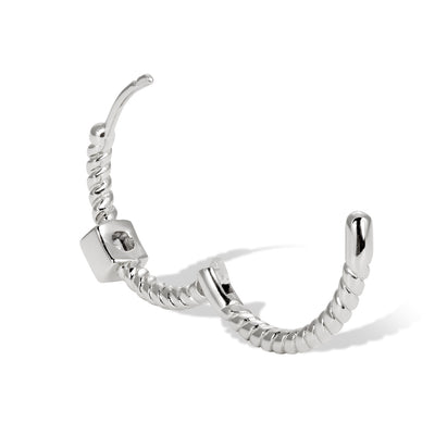 Speira 18mm square cz sterling silver mini hoop
