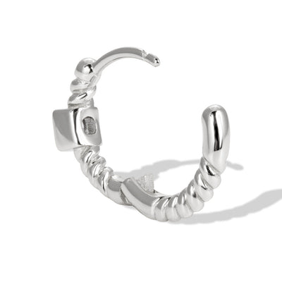 Speira 11mm square cz sterling silver huggie