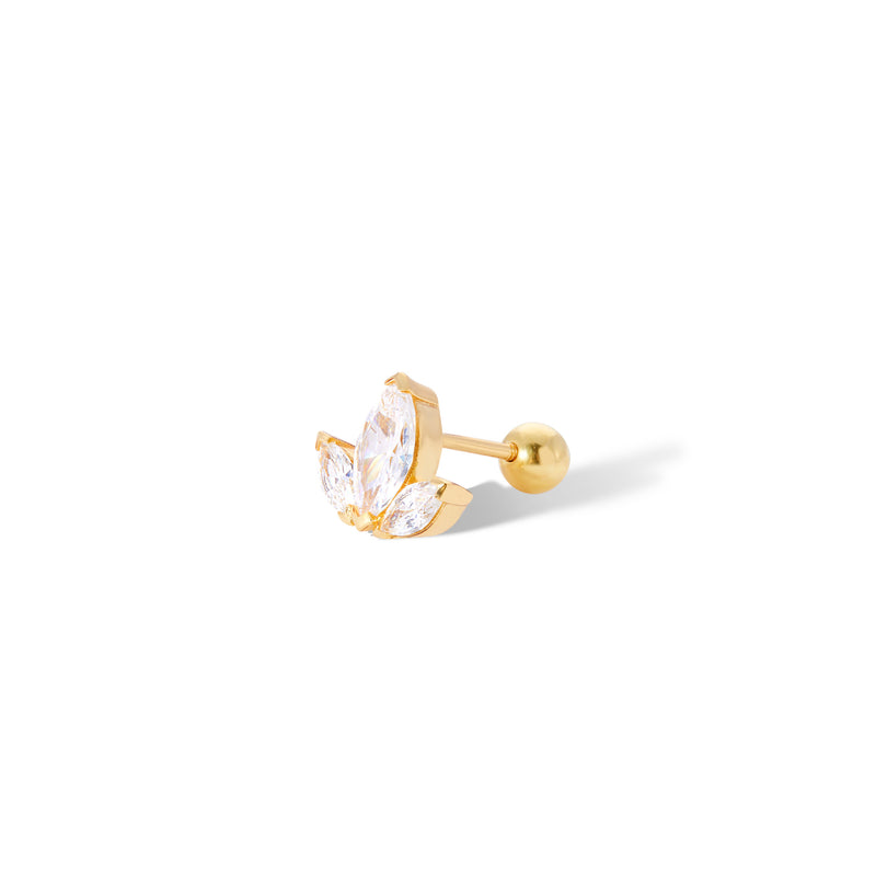 Lotus gold vermeil stud earring (ball screw)