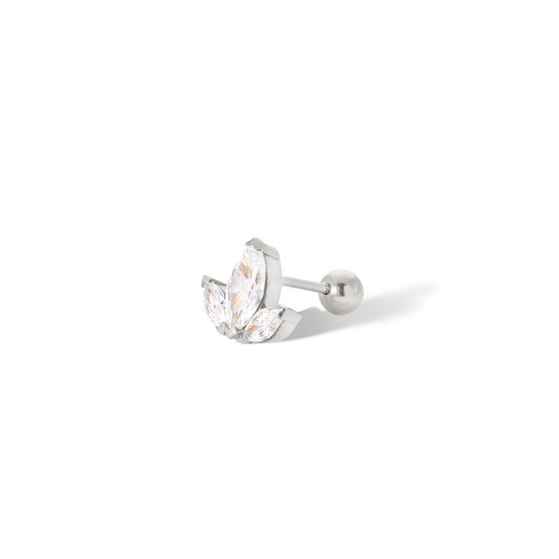 Lotus sterling silver stud earring (ball screw)