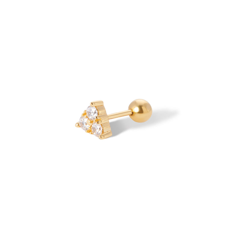 Trinity gold vermeil stud earring (ball screw)
