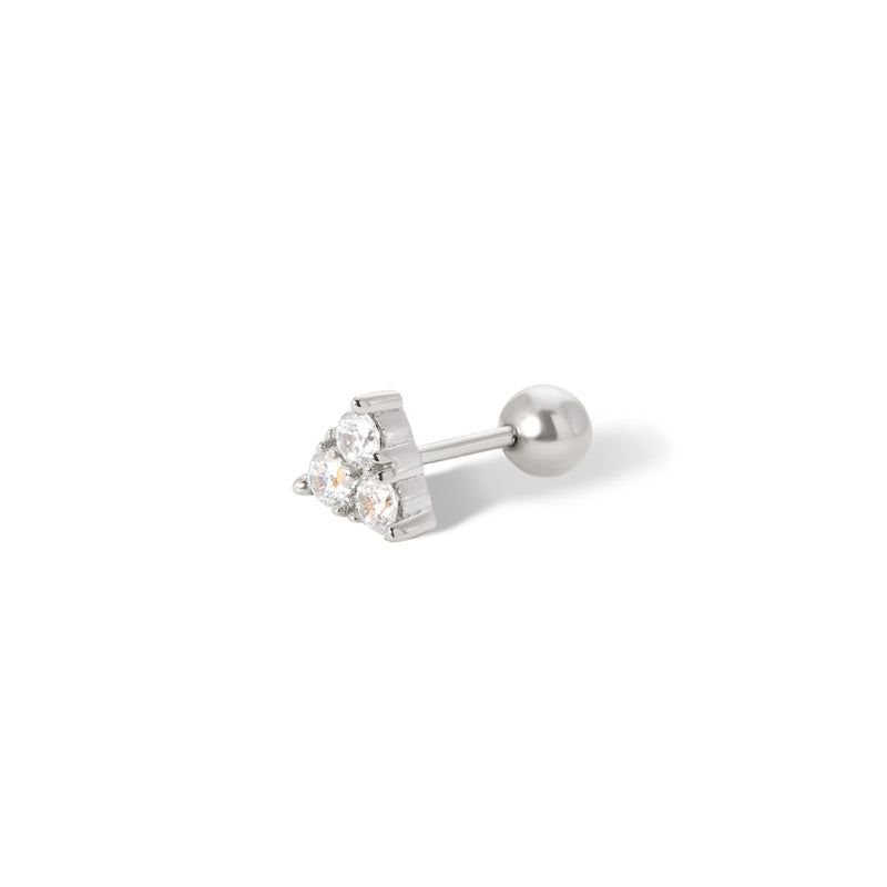 Trinity sterling silver stud earring (ball screw)
