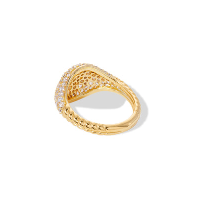 Speira pave gold vermeil signet ring
