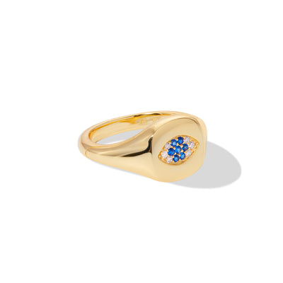Evil eye gold vermeil signet ring with blue & white cz