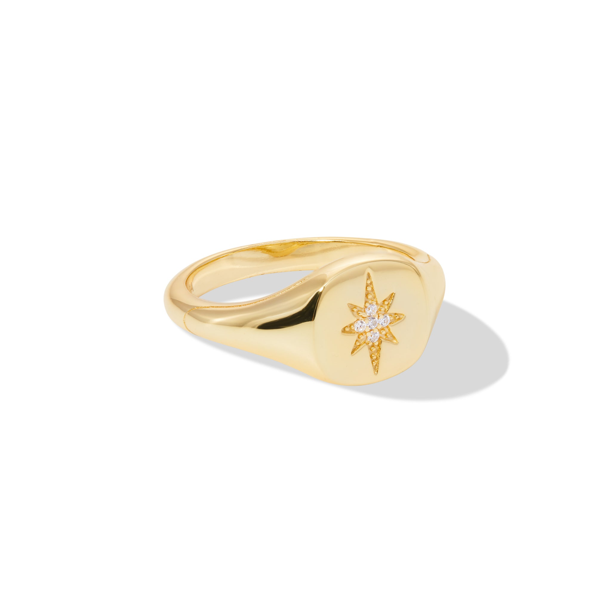 Starburst signet gold vermeil ring