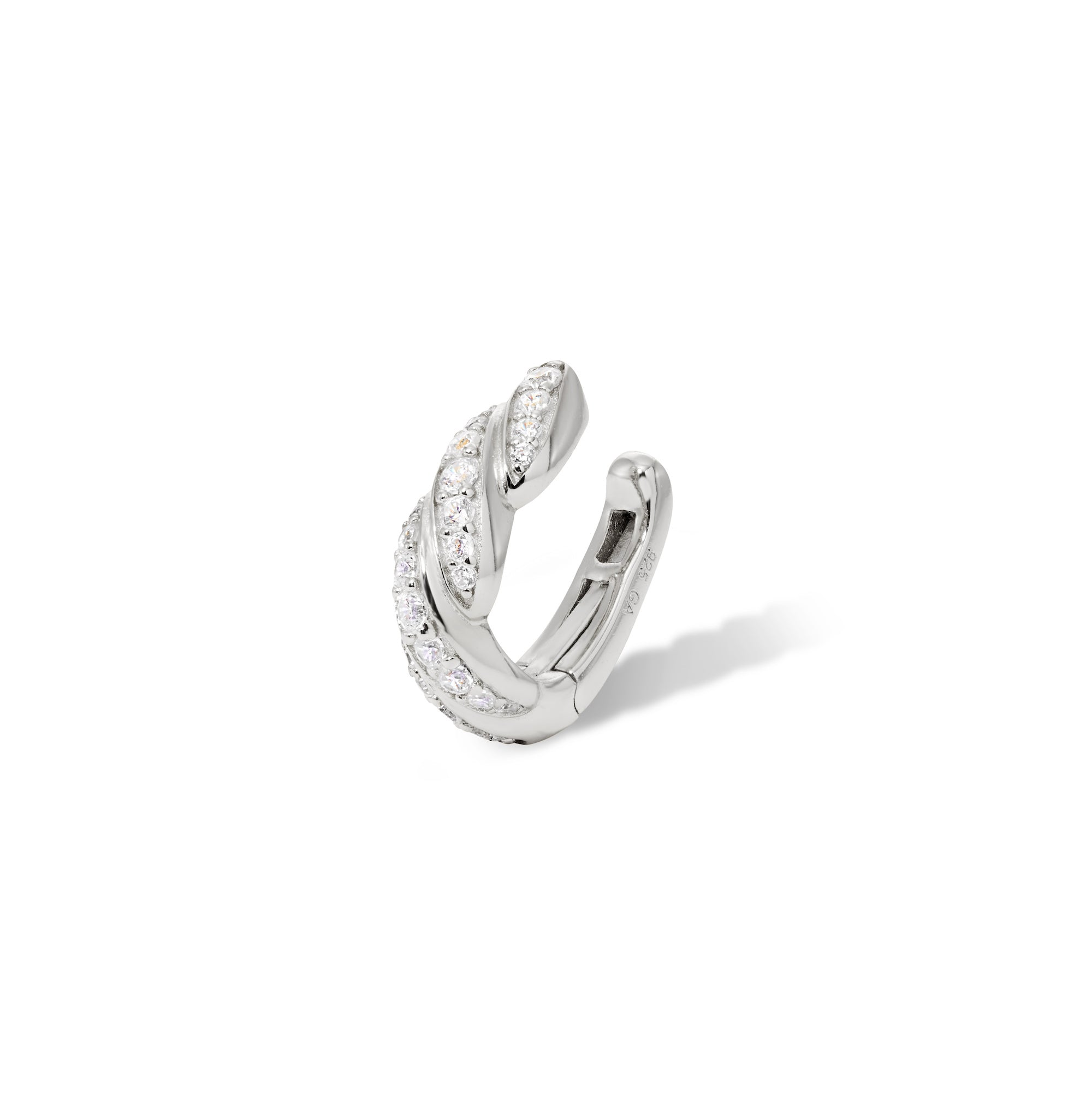 Speira band pave sterling silver ear cuff