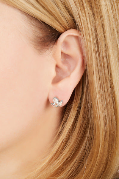 Lotus sterling silver stud earring