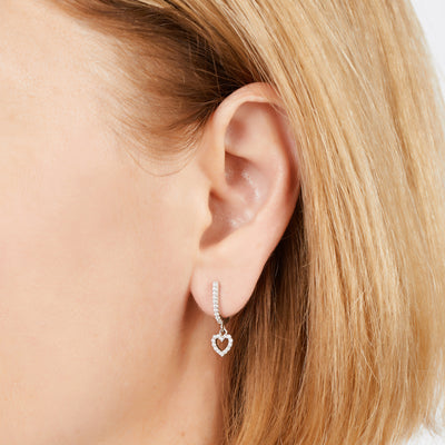 Hanging heart sterling silver earring