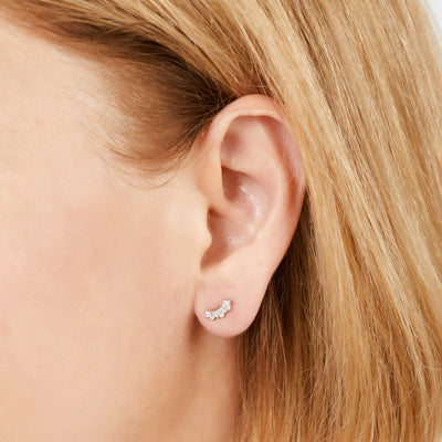 Baguette sterling silver stud earring (ball screw)