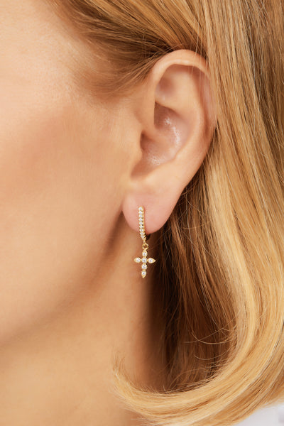 Hanging pave cross gold vermeil earring