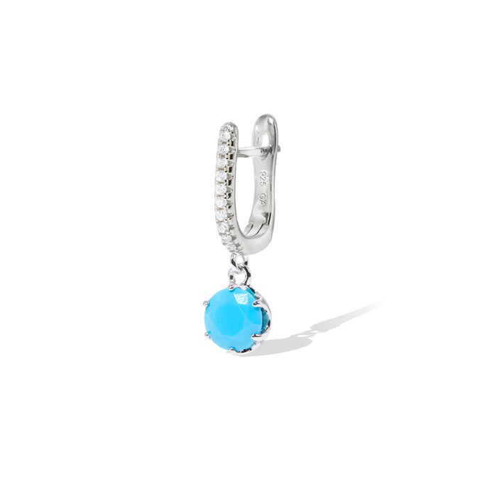 Halo turquoise sterling silver earring