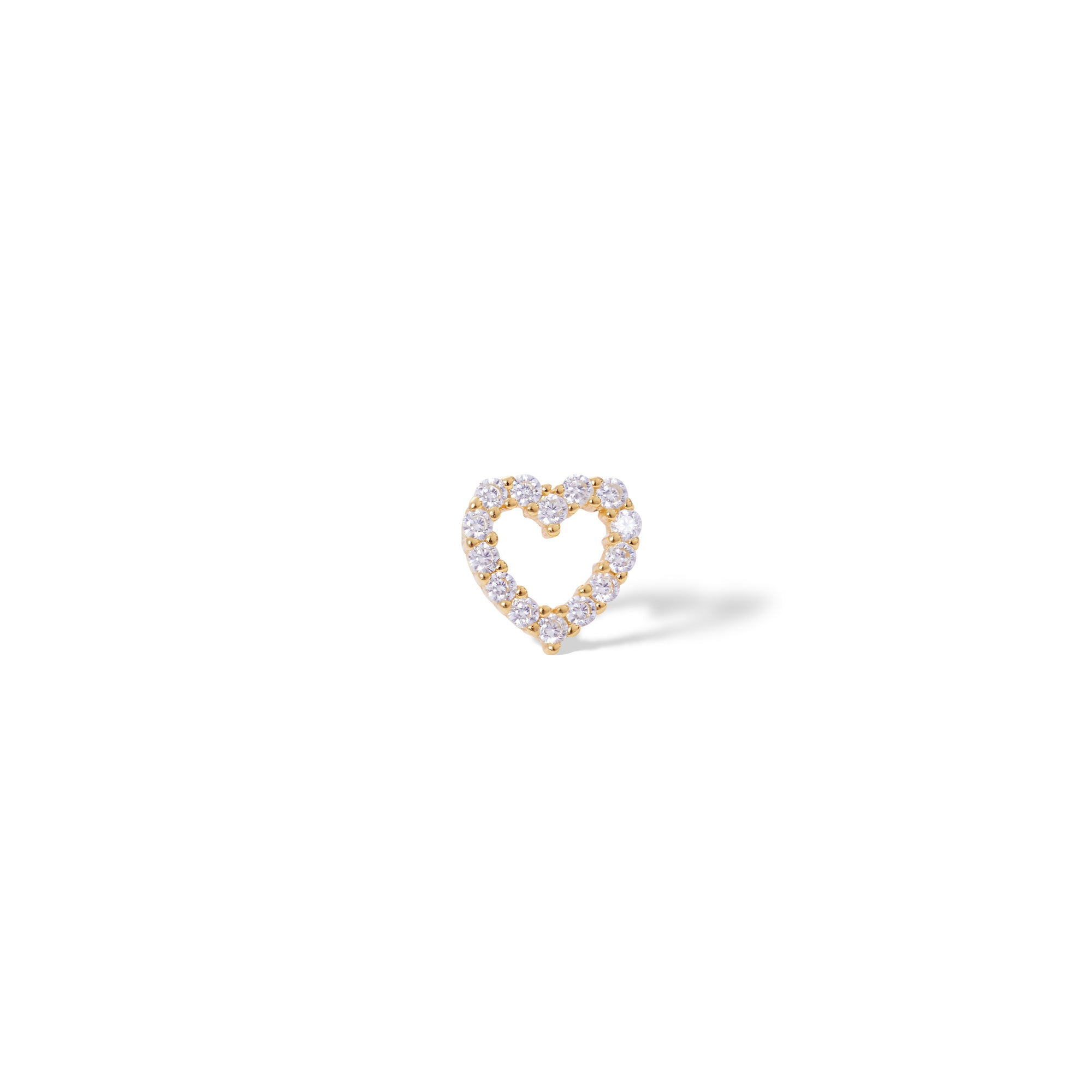 Heart gold vermeil stud earring (ball screw)