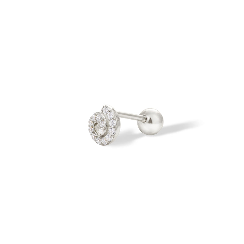 Whirl sterling silver stud earring (ball screw)