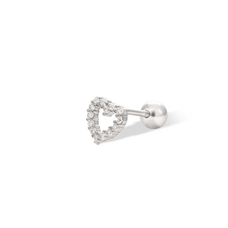 Heart sterling silver stud earring (ball screw)