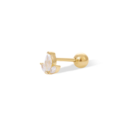 Mini Lotus gold vermeil stud earring (ball screw)