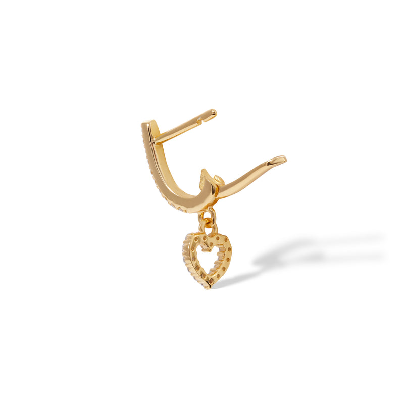 Hanging heart gold vermeil earring