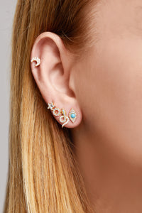 Evil eye turquoise gold vermeil stud