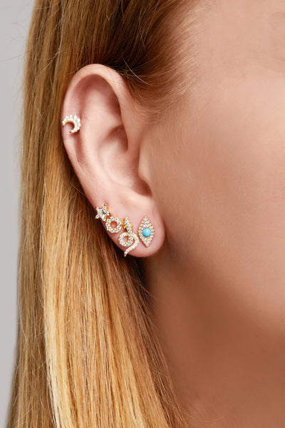 Star turquoise & opal gold vermeil stud (ball screw)