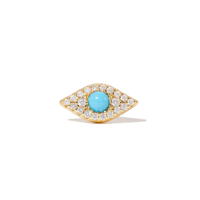 Evil eye turquoise gold vermeil stud (ball screw)