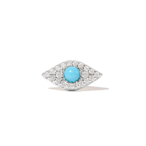 Evil eye turquoise sterling silver stud (ball screw)