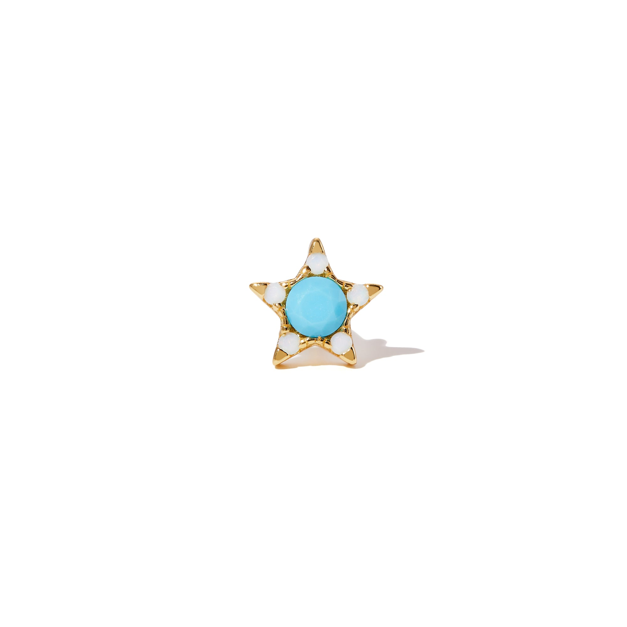 Star turquoise & opal gold vermeil stud