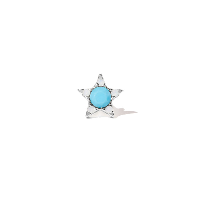 Star turquoise & opal sterling silver stud (ball screw)