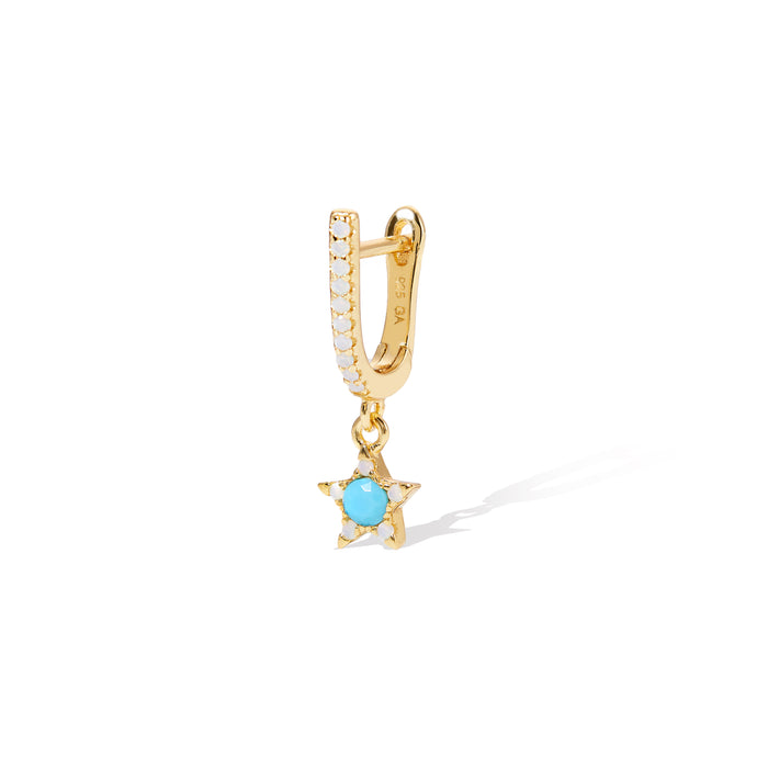 Hanging star gold vermeil turquoise & opal earring