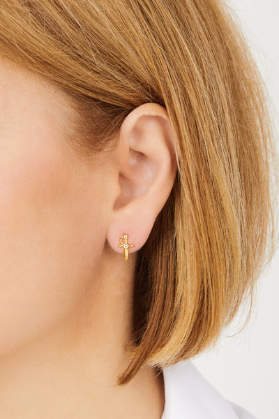 Freya gold vermeil stud earring (ball screw)