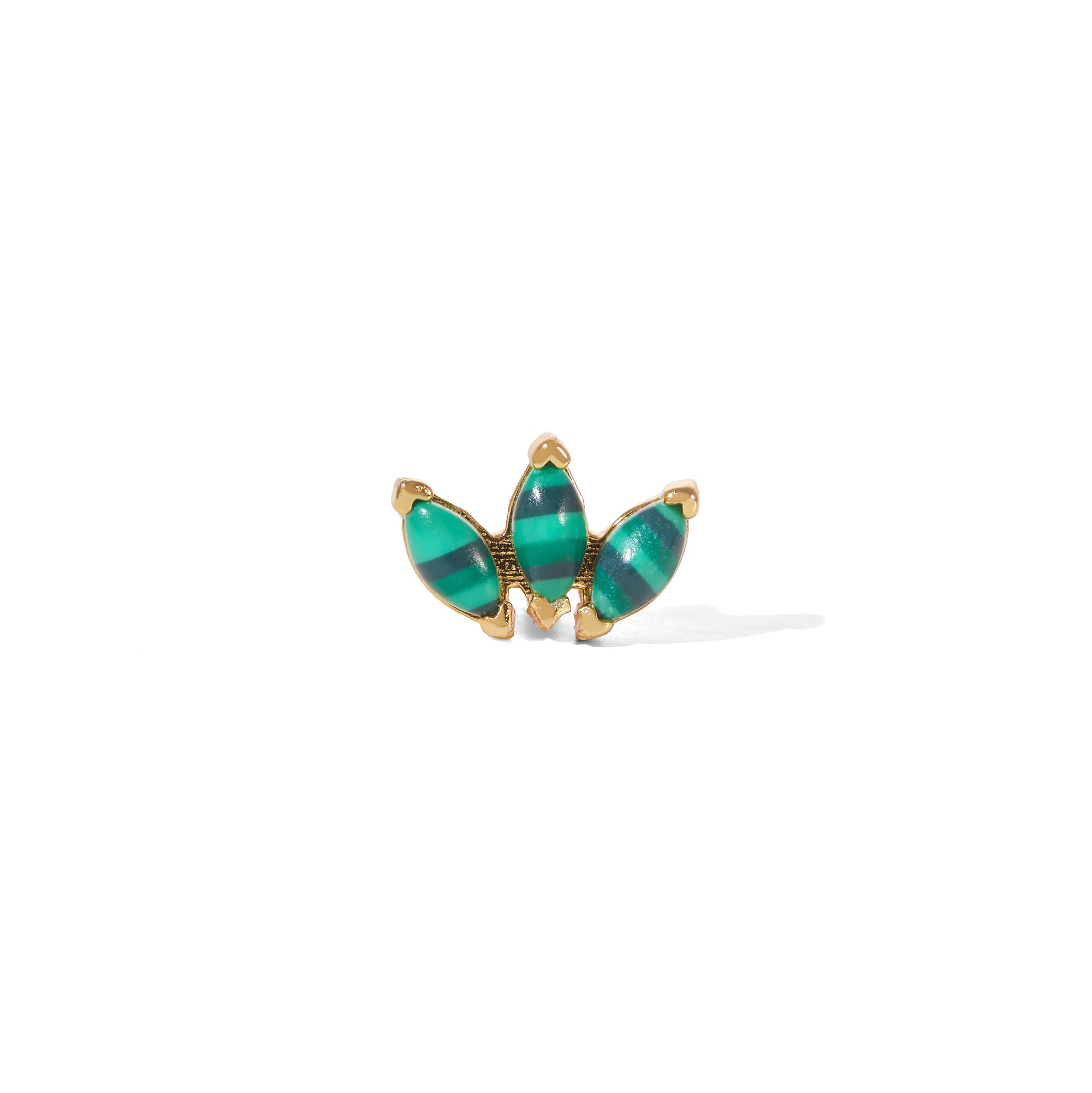 Marquise Fan malachite gold vermeil stud (ball screw)