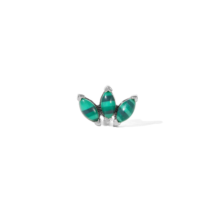 Marquise Fan malachite sterling silver stud (ball screw)