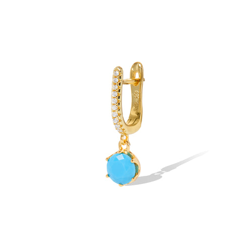 Halo turquoise gold vermeil earring