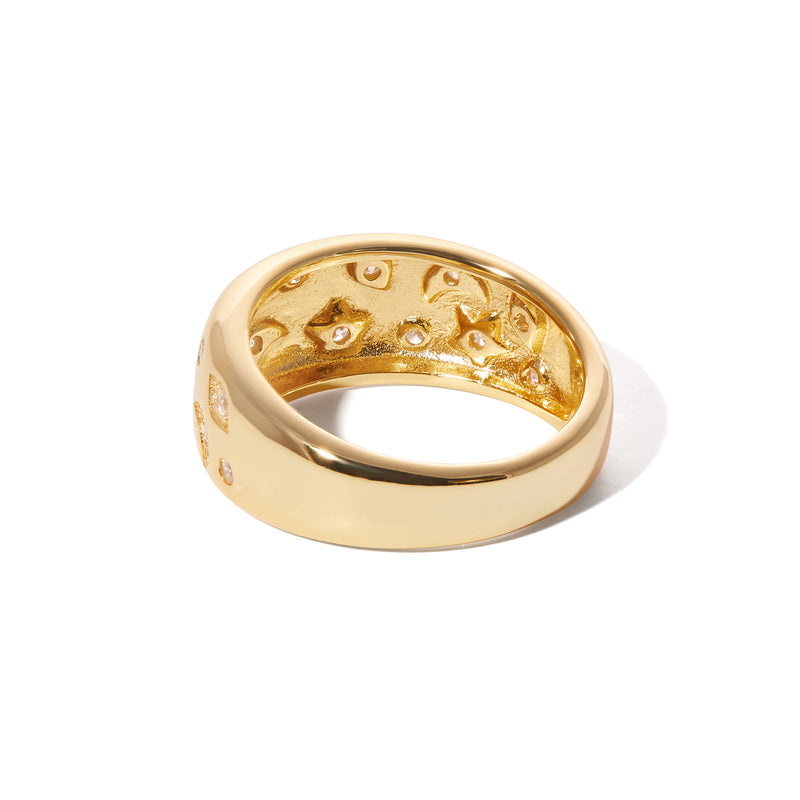 Large Cosmos gold vermeil ring