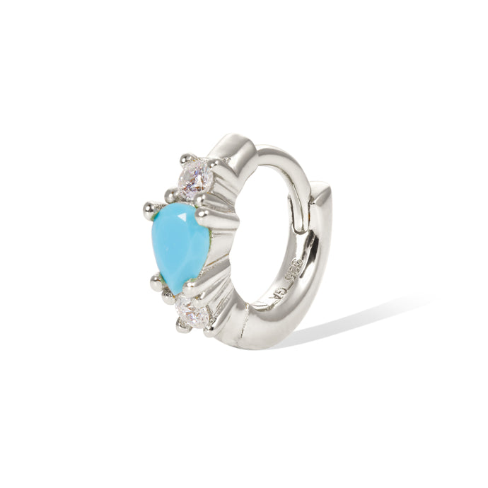 6,5mm poire turquoise sterling silver huggie