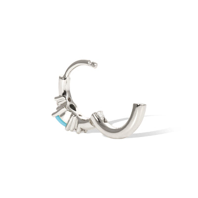 Poire turquoise sterling silver huggie