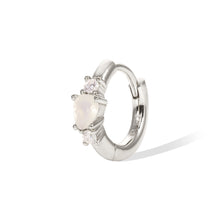 Load image into Gallery viewer, Poire opal sterling silver huggie