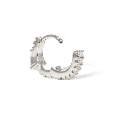 Poire pave white cz sterling silver huggie