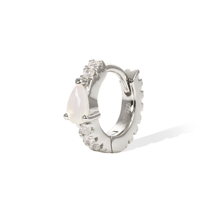 Poire pave opal sterling silver huggie