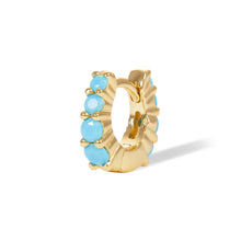 Load image into Gallery viewer, 6,5mm jumbo turquoise graduated gold vermeil huggie