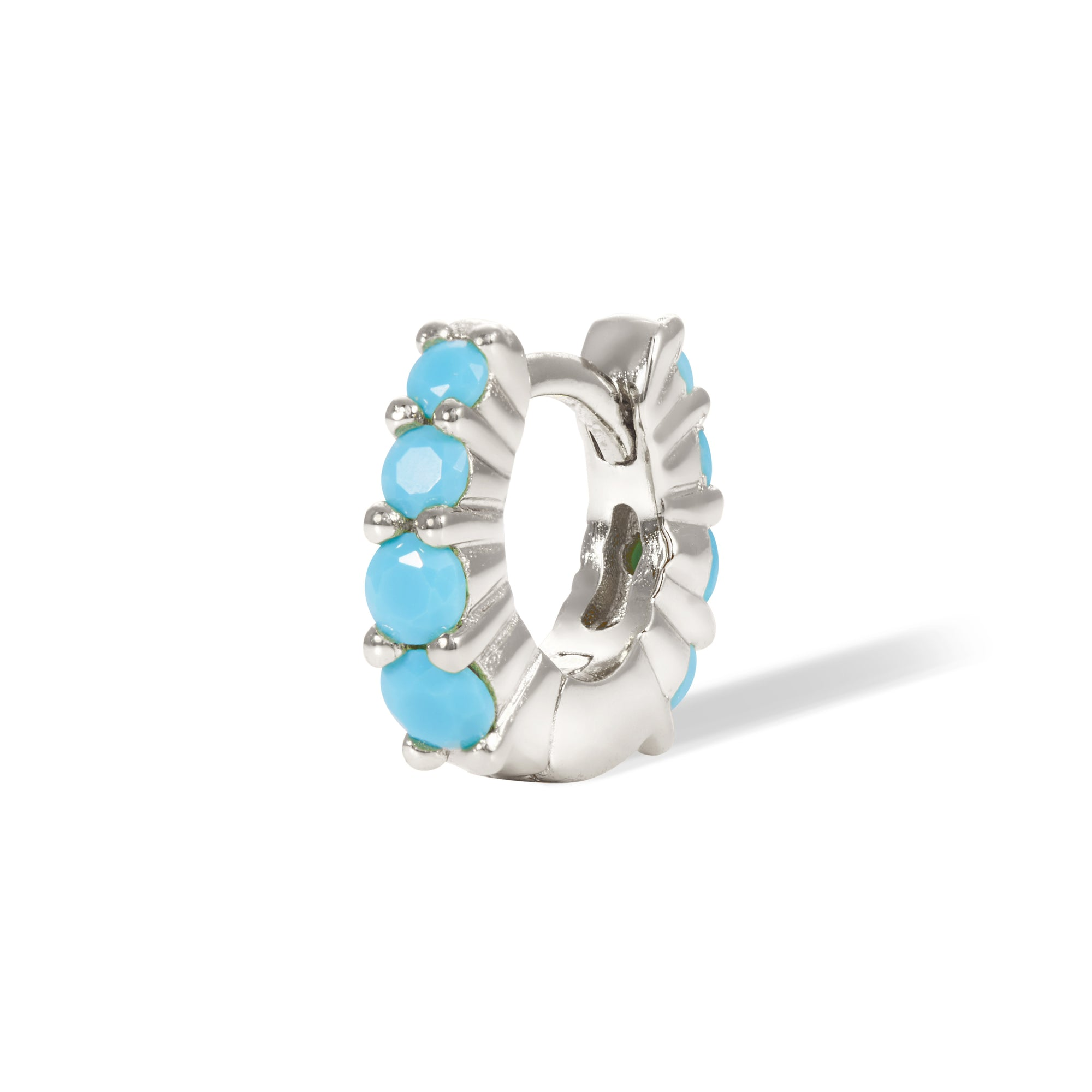 Mini Gala 6.5mm  turquoise sterling silver huggie