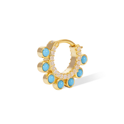 Dots turquoise gold vermeil huggie