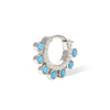 Dots turquoise sterling silver huggie